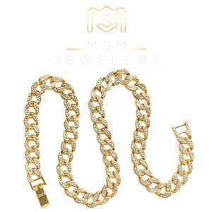 """High-Quality 14k Gold Plated 15mm Iced Stainless Steel 24"""" Iced Cuban Chain"""